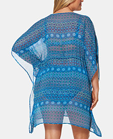 Bleu by Rod Beattie Plus Size Printed Tunic Cover-Up