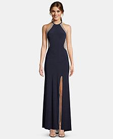XSCAPE Beaded Halter Gown