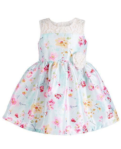 Bonnie Baby Baby Girls Floral & Lace Dress