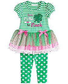 Bonnie Baby Baby Girls 2-Pc. Love to Pinch Graphic Striped Tunic & Leggings Set
