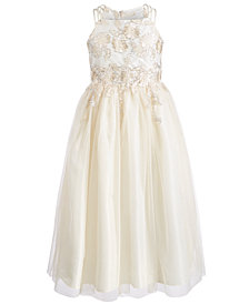 Bonnie Jean Big Girls Triple Strap Metallic Lace Ball Gown