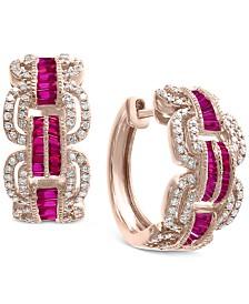EFFY® Certified Ruby (1-1/4 ct. t.w.) & Diamond (3/4 ct. t.w.) Hoop Earrings in 14k Rose Gold