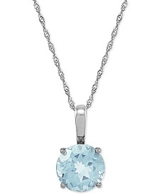 "Aquamarine 18"" Pendant Necklace (2-1/2 ct. t.w.) in 14k White Gold"