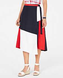 Tommy Hilfiger D-Ring Colorblocked Wrap Skirt