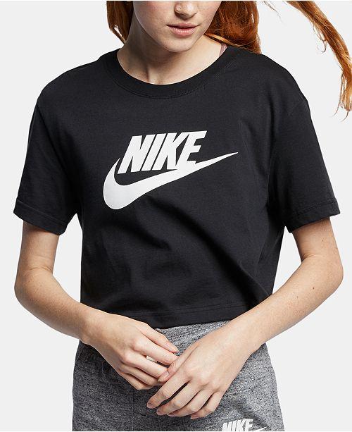 Nike Women's Sportswear Cotton Logo Cropped T-Shirt