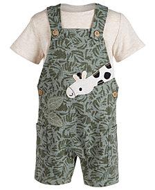 First Impressions Baby Boys 2-Pc. T-Shirt & Giraffe Shortalls Set, Created for Macy's
