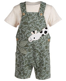 First Impressions Baby Boys 2-Pc. T-Shirt & Giraffe Shortalls Set, Created for Macy's