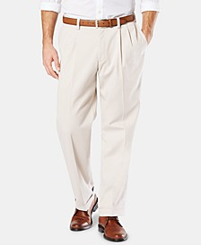 Men's Easy Comfort Relaxed Fit Pleated Khaki Pants