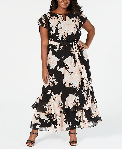 Calvin Klein Plus Size Ruffled Floral-Print Maxi Dress ...