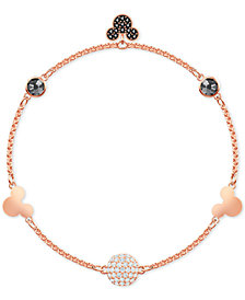 Swarovski Remix Rose Gold-Tone Crystal Fireball & Mickey Mouse Magnetic Link Bracelet