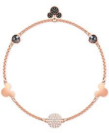 Swarovski Remix Rose Gold-Tone Crystal Fireball & Mickey Mouse Magnetic Link Bracelet