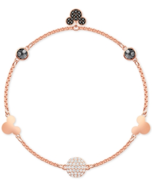 Swarovski Accessories REMIX ROSE GOLD-TONE CRYSTAL FIREBALL & MICKEY MOUSE MAGNETIC LINK BRACELET