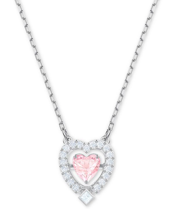 "Swarovski Silver-Tone Crystal 3D Cage Heart-Shape Pendant Necklace, 14-4/5"" + 4"" extender"