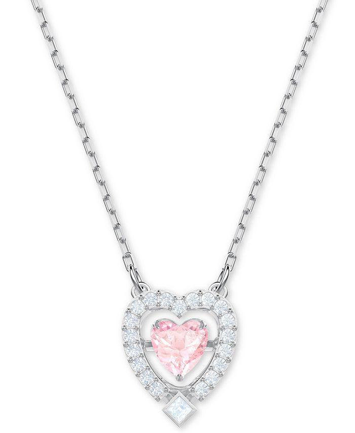 "Swarovski - Silver-Tone Crystal 3D Cage Heart-Shape Pendant Necklace, 14-4/5"" + 4"" extender"