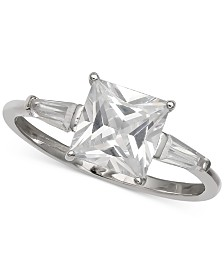 Giani Bernini Cubic Zirconia Princess & Baguette Ring in Sterling Silver, Created for Macy's