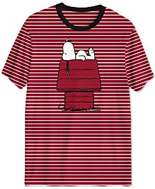 Peanuts Collection-Striped Doghouse Snoopy Men's T-Shirt