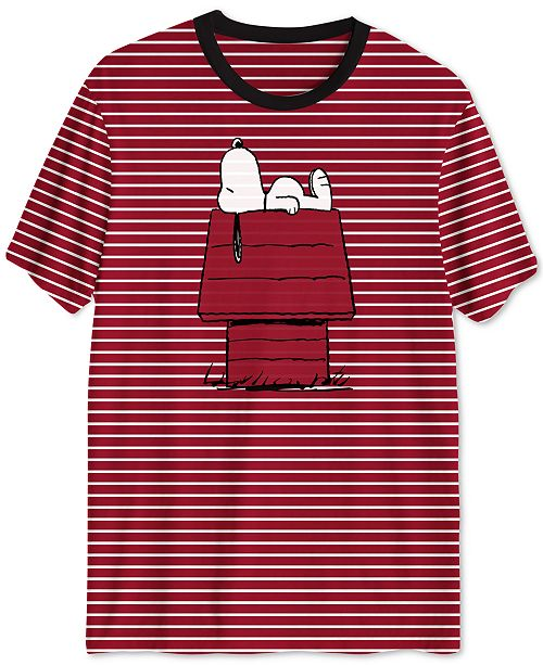 a33ed16c9 Hybrid Peanuts Collection-Striped Doghouse Snoopy Men's T-Shirt ...