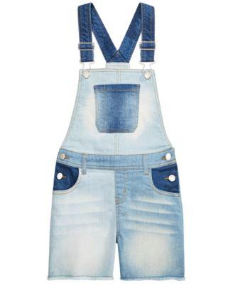 Big Girls Multi-Wash Denim Shortalls, Created for macy's