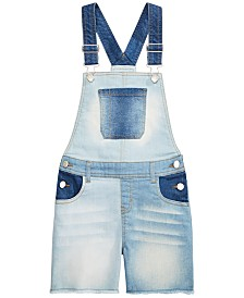 Epic Threads Big Girls Multi-Wash Denim Shortalls, Created for macy's