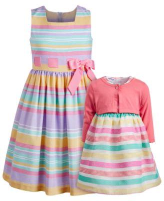 Big Girls Linen-Look Striped Dress