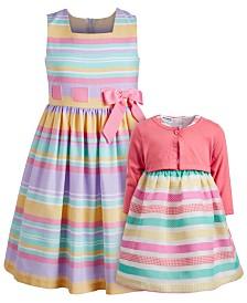 Bonnie Jean & Blueberi Boulevard Sisters Dress & Cardigan Set