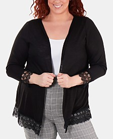 e0ab76124a20a NY Collection Plus Size Lace-Trimmed Open-Front Cardigan Sweater