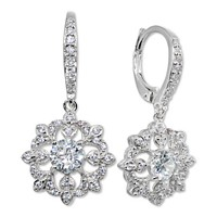 Giani Bernini Cubic Zirconia Cluster Drop Earrings (Silver / Gold)