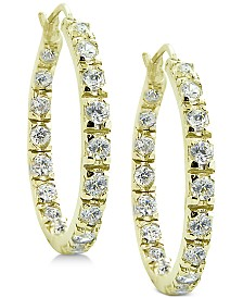Giani Bernini Cubic Zirconia In & Out Hoop Earrings in 18k Gold-Plated Sterling Silver, Created for Macy's
