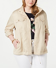 Plus Size Windbreaker Jacket, Created for Macy's