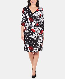 NY Collection Patchwork 3/4-Sleeve Wrap Dress