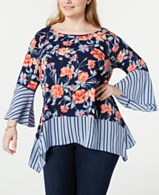 NY Collection Plus Size Mixed Print Bell-Sleeve Blouse