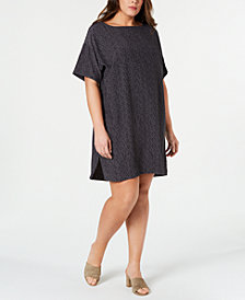 Eileen Fisher Plus Size Printed Bateau-Neck Dress