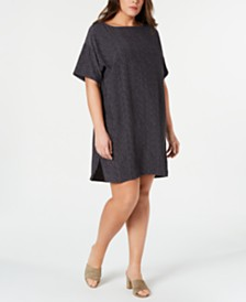 Eileen Fisher Plus Size Printed Bateau-Neck TENCEL™ Dress