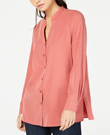Eileen Fisher Split-Neck Tencel® and Recycled Polyester Blouse, Regular & Petite