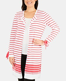 Cotton Striped Tie-Sleeve Open-Front Cardigan