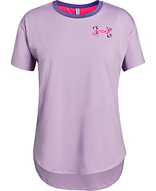 Under Armour Big Girls Mesh-Panel Logo-Print T-Shirt