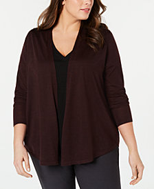 Eileen Fisher Plus Size Open-Front Cardigan Sweater