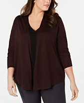 56454e4f811fb Eileen Fisher Plus Size Open-Front Cardigan Sweater