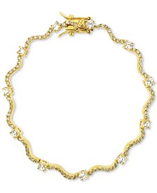 Giani Bernini Cubic Zirconia Wavy Link Bracelet in 18k Gold-Plated Sterling Silver, Created for Macy's