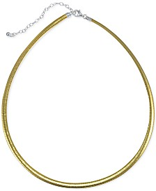 "Giani Bernini Two-Tone Omega Link Chain Necklace in 18k Gold-Plated Sterling Silver, 16"" + 2"" extender, Created for Macy's"