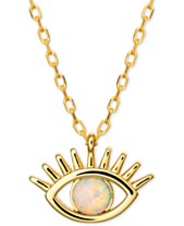 3a0f808fd Imitation Opal Eye Pendant Necklace in 18k Gold-Plated Sterling Silver, 16