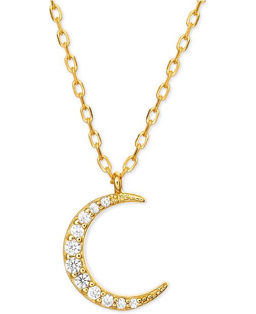 b5d11bfce7b3d Cubic Zirconia Crescent Moon Pendant Necklace in 18k Gold-Plated Sterling  Silver, 16 + 2 extender