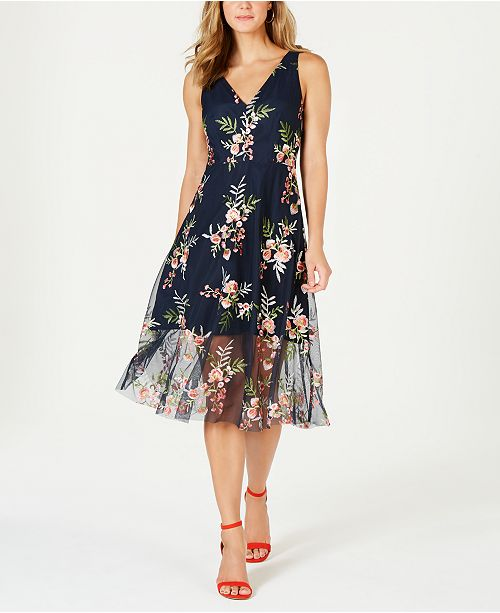 e2f288f1e20a Vince Camuto Embroidered Floral Fit   Flare Dress   Reviews ...
