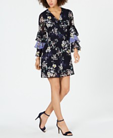 Vince Camuto Floral-Print Ruffled-Sleeve Dress