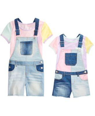 Little Girls Colorblocked Shortalls, Created for Macy's