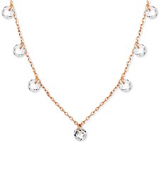 "Cubic Zirconia Dangle Collar Necklace in 18k Rose Gold-Plated Stainless Steel, 16"" + 2"" extender"