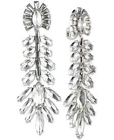 Jenny Packham Silver-Tone Crystal Fan Clip-On Drop Earrings