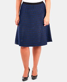 NY Collection Plus Size Jacquard-Knit A-Line Skirt