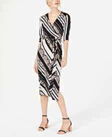 I.N.C. Python-Print Striped Wrap Dress, Created for Macy's