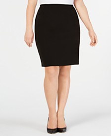 Calvin Klein Plus Size Soft Crepe Pencil Skirt